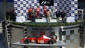 Podium 2002 US F1 GP: 1. Barrichello 2. Schumacher 3. Coulthard