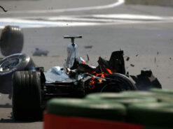 Crashed Kimi Raikkonen McLaren MP4-18, 2003 German F1 GP