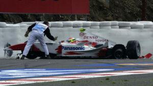 Ricardo Zonta crashes his Toyota TF104
