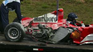 Crashed F1 car of Michael Schumacher