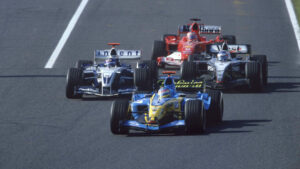 Alonso (Renault) Montoya (WIlliams) Raikkonen (McLaren) M. Schumacher (Ferrari)