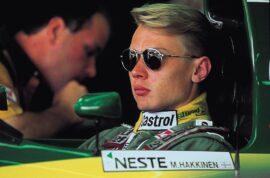 Mika Hakkinen in the Lotus 107 cockpit (1992)