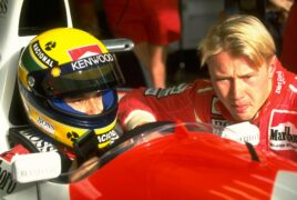 Ayrton Senna and Mika Hakkinen before the Portuguese Grand Prix at the Estoril circuit in Portugal (1993)