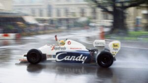 1984 Monaco F1 GP Senna driving the Toleman TG184 Hart