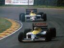 Nelson Piquet, Williams FW11 leads Nigel Mansell 1986 British Grand Prix, Brands Hatch