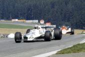 Alan Jones, Williams FW07-Ford leads John Watson's McLaren M26. 1979 Austrian GP, Osterreichring
