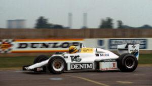 Ayrton Senna testing the 1983 Williams FW08