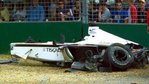 Crashed car of Jacques Villeneuve 2001 Australia