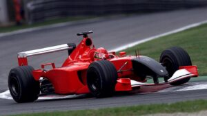 Schumacher driving with black nose at Italy after 911
