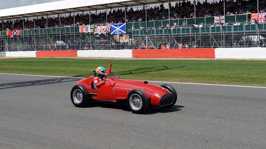 Fernando Alonso driving the first Ferrari F1 car