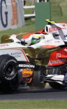 Giancarlo Fishichella flies with his Force India