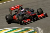 Jenson Button driving the McLaren MP4-27 Merccedes at Brazil (2012)