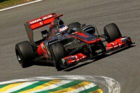 Jenson Button driving the McLaren MP4-27 Merccedes at Brazil (2012)