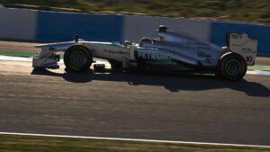 Lewis Hamilton driving the Mercedes W04 at Jerez during wintertest