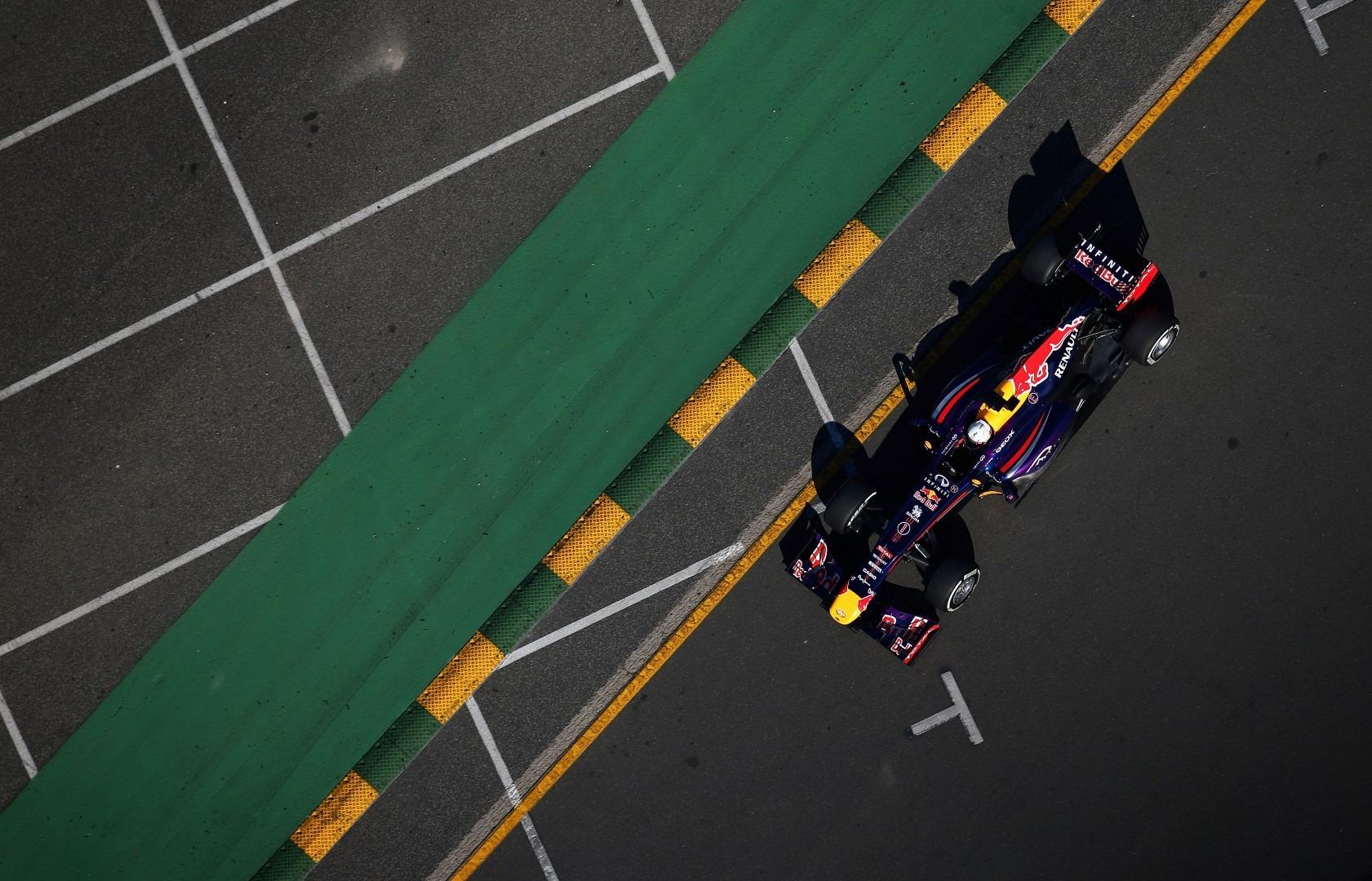 Sebastian Vettel qualifying 1st in his Red Bull RB9