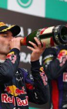 Mark Webber & Sebastian Vettel on the podium at Malaysia