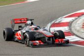 Jenson Button driving the McLaren MP4-28 Merccedes at China (2013)
