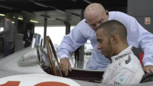 Lewis Hamilton and Sir Stirling Moss at Silverstone