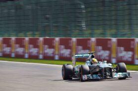 Lewis Hamilton on Spa with his Mercedes W04