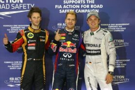 Top 3 qualifiers: 1. Vettel 2. Rosberg 3. Grosjean