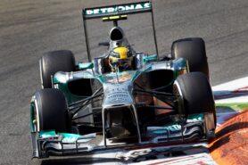 Lewis Hamilton driving his Mercedes W04