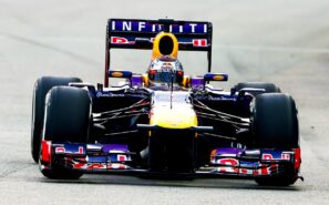 Sebastian Vettel driving his Red Bull RB9 at Singapore