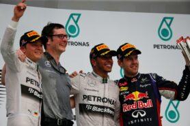 2014 Malaysia podium: 1. Hamilton 2. Rosberg 3. Vettel