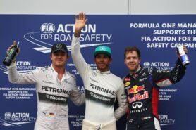 Top 3 qualifiers: 1. Hamilton 2. Rosberg 3. Vettel