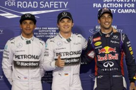 Top 3 qualifiers 2014 Bahrain F1 GP: 1. Rosberg 2. Hamilton 3. Ricciardo
