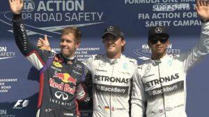 Top 3 qualifiers for 2014 Belgium F1 GP: 1. Rosberg 2. Hamilton 3. Vettel