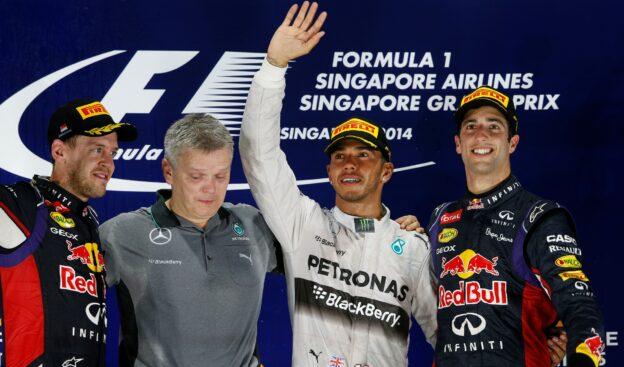 Singapore 2014 Podium: 1. Hamilton 2. Vettel 3. Ricciardo