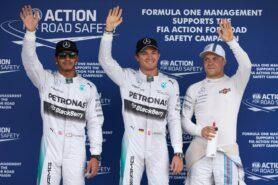 Top 3 qualifiers: 1. Rosberg 2. Hamilton 3. Bottas