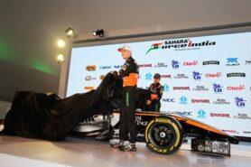 Nico Hulkenberg and Sergio Perez reveal the Force India VJM08 F1 car