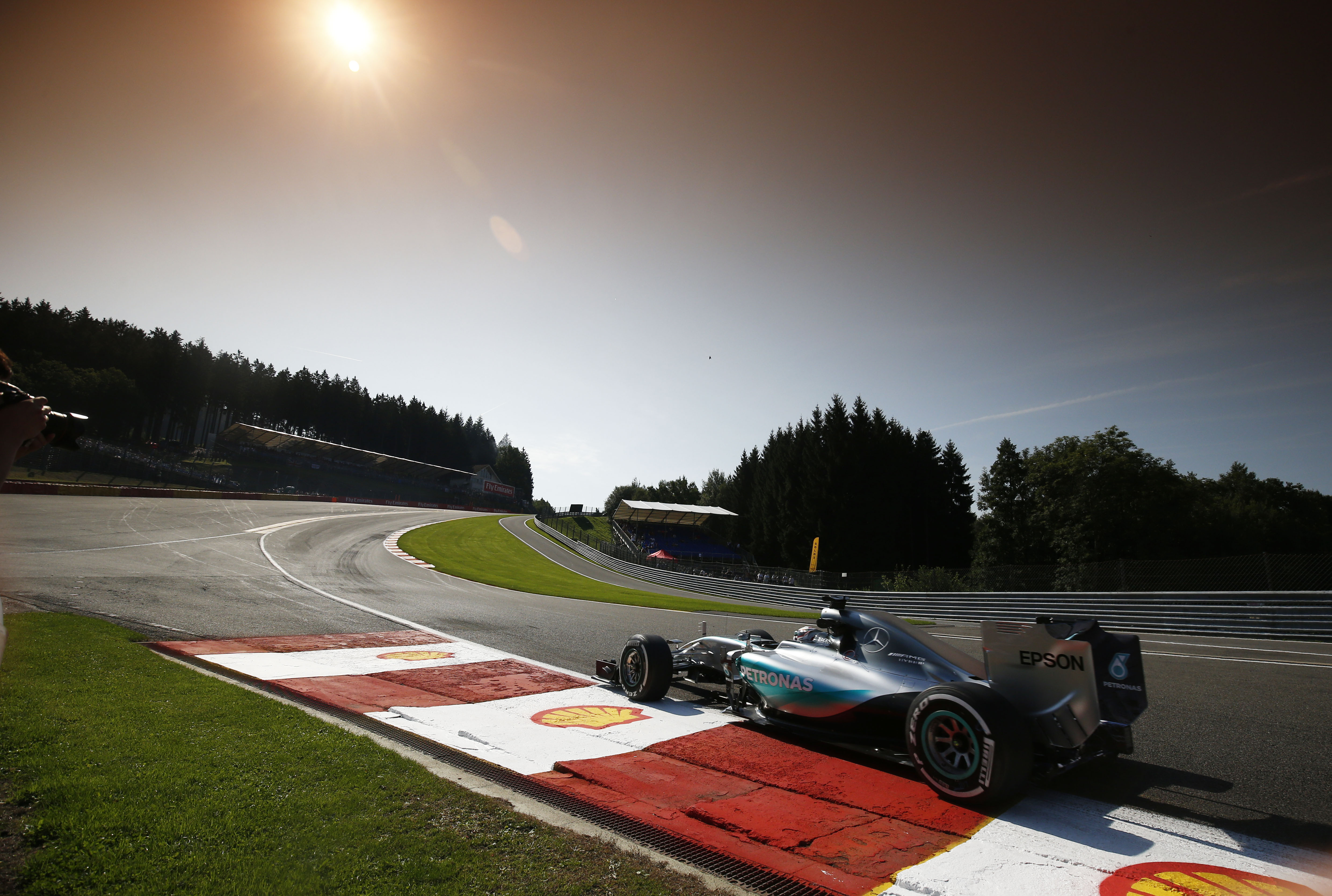Lewis Hamilton in Au Rouge at Spa in his Mercedes W06