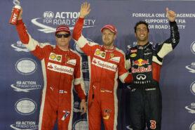 2015 Singapore top 3 qualifiers: 1. Vettel 2. Ricciardo 3. Raikkonen