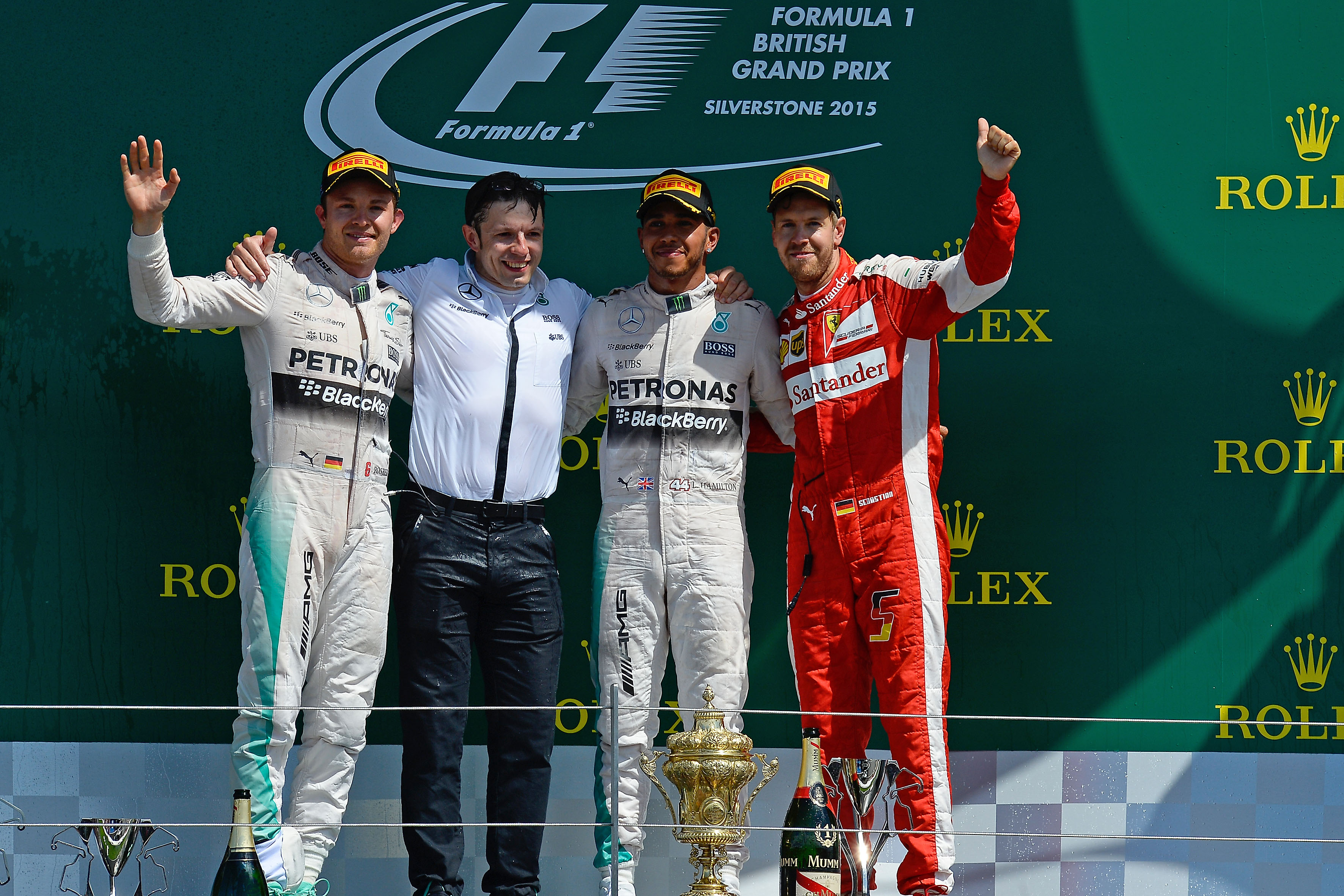 2015 British F1 GP podium: 1. Hamilton 2. Rosberg 3. Vettel