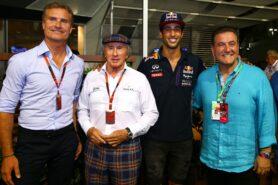 David Coulthard, Sir Jackie Stewart, Daniel Ricciardo and Australia's Minister for Sport, John Eren