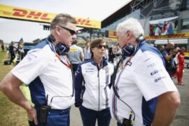 Silverstone, Northamptonshire, England. Mike O' Driscoll, Claire Williams and Pat Symonds