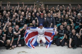 Lewis Hamilton celebratiing his 3rd F1 drivers title with the Mercedes team