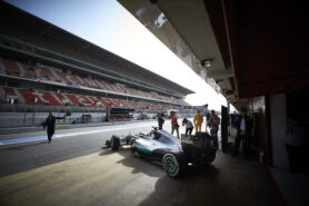 Lewis Hamilton driviing the Mercedes W07 out of the garage