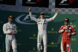2016 Australia F1 GP podium: 1. Nico Rosberg, 2. Lewis Hamilton, 3. Sebastian Vettel