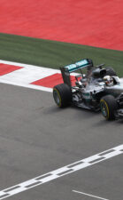 Lewis Hamilton driving in his Mercedes W07 at Sochi Street Circuit in Russia