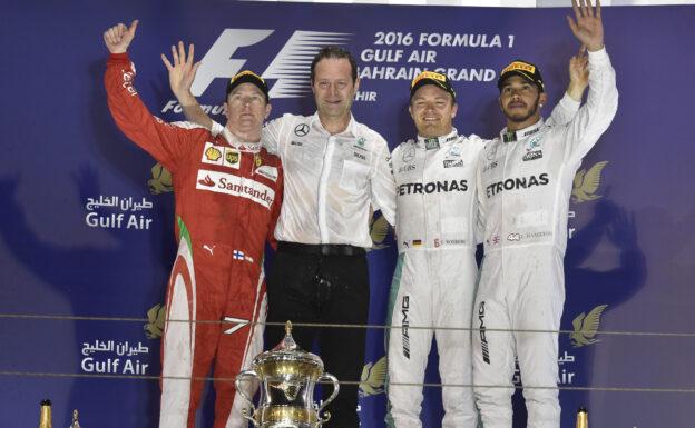 2016 Bahrain F1 Podium: 1. Rosberg 2. Raikkonen 3. Hamilton