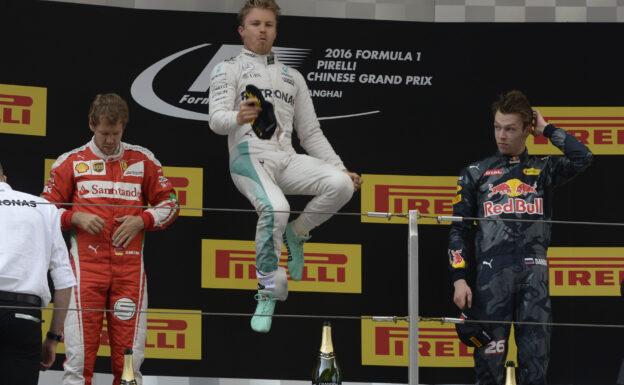 2016 Chinese F1 GP podium: 1. Rosberg 2. Vettel 3. Kvyat