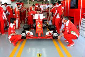 Kimi Raikkonen in the garage in his Ferrari SF16-H