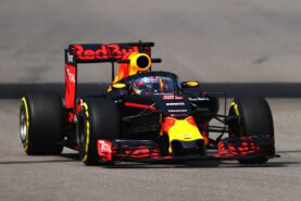 Daniel Ricciardo driving the Red Bull RB12 fitted with the aeroscreen on track during practice
