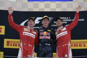 2016 Spanish F1 GP podium: 1. Verstappen 2. Raikkonen 3. Vettel