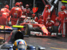 Sebastian Vettel leving the pit in his Ferrari SF16-H