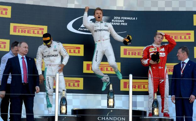 2016 Russian F1 GP podium: 1. Rosberg, 2. Hamilton, 3. Raikkonen