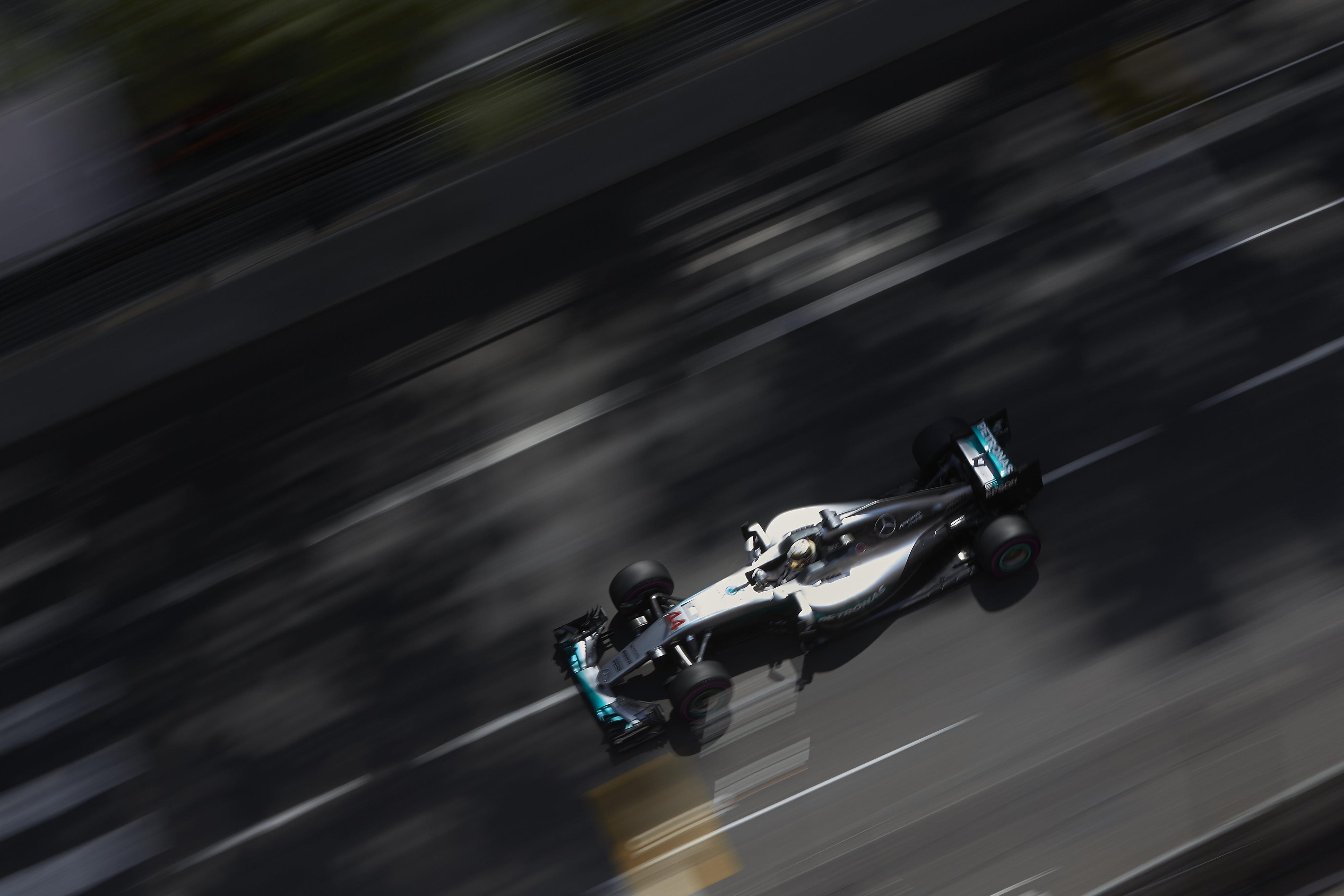 Lewis Hamilton drives his Mercedes W07 at Monaco